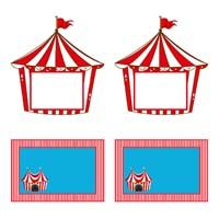 Circus Birthday theme Shaped foodlabels
