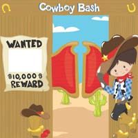 Cowboy theme Wanted banner on entrance