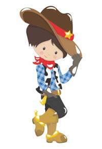 Cowboy theme  - Little cowboy with hat poster