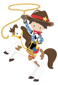 Cowboy theme  - Little Cowboy on horse with lasso poster