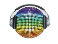 Disco theme Discoball on headphones cutout