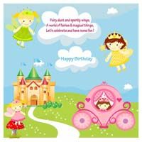 Fairy Princess Birthday theme Fairy scene backdrop (Square)