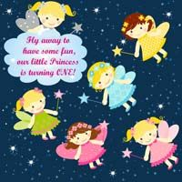 Fairy Princess Birthday theme Fairy starry night backdrop (Square)
