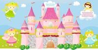 Fairy Princess Birthday theme Fairy banner with castle (rectangular)