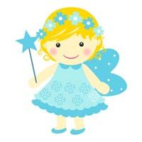 Fairy Princess Birthday theme Blue fairy with flowers - posters
