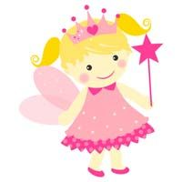 Fairy Princess Birthday theme Pink fairy with crown - poster