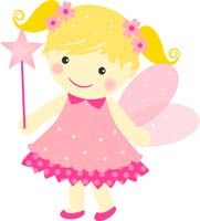 Fairy Princess Birthday theme Pink fairy with flowers - posters