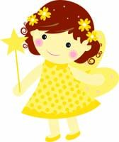 Fairy Princess Birthday theme Yellow fairy with flowers - posters