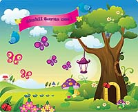 Garden Party theme Garden scene backdrop
