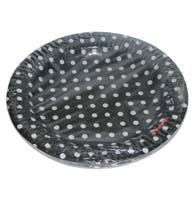 Birthday Party Plate - Black and white polka