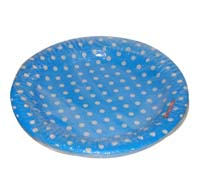 Birthday Party Plate - Blue and white polka - Yellow Baby Shower