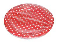 Birthday Party Plate - Red and white polka - Barnyard Birthday
