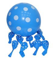 Blue & white polka balloons (10) - Yellow Baby Shower