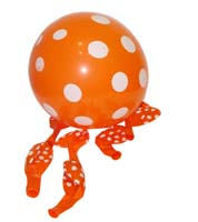 Orange & white polka balloons (10)