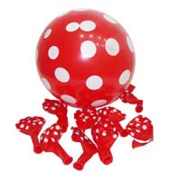 Red & white polka balloons (10)