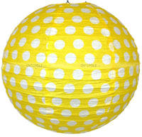 Party Supplies theme Paper Lanterns - Yellow Polka