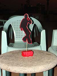 Hip Hop Retro theme Red dancing man centerpiece