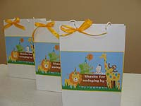 Stickered gift bags - Jungle Safari Theme Twins Birthday Party