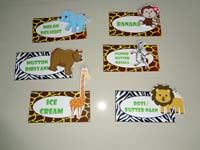 Jungle theme Food labels