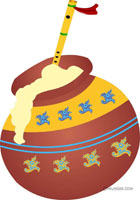 Butter pot with flute - Little Krishna