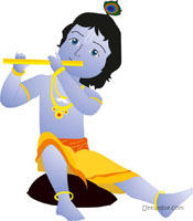 Krishna playing the flute poster