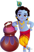 Little Krishna theme with butter pots poster