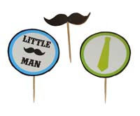 Cup cake toppers - Little Man Theme Party supplies | Mustache Themed 1st Birthday