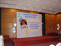Little Prince theme Pinstripes backdrop with baby photograph