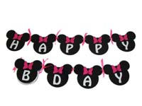 Mickey Minnie theme Minnie Happy birthday Banner/bunting
