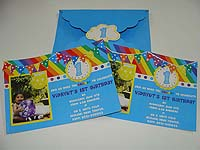 Rainbow theme  - Rainbow invitation with 3D work
