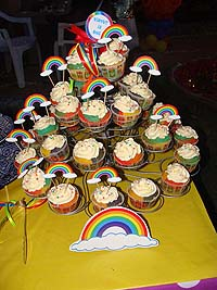 Cup cake toppers - Rainbow theme colorful birthday party decoration