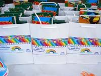 Stickered gift bags - Rainbow theme colorful birthday party decoration