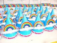 Rainbow theme  - Hats with 3D rainbow and cloud