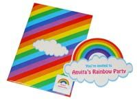 Rainbow theme Rainbow shaped invite
