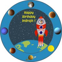 Space theme Blue round table cover