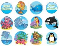 Underwater birthday theme 12 single sided wall cutouts