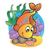 Underwater birthday theme Gold fish swimming