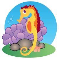 Underwater birthday theme Sea horse
