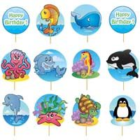 Cup cake toppers - Underwater Theme Birthday Party Decoration/Supplies
