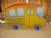 Vehicles birthday theme School bus poster