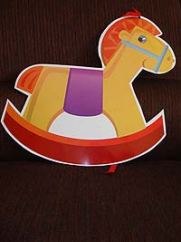 Vehicles birthday theme Rocking horse sticker