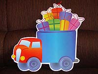 Vehicles birthday theme Truck with goodies poster