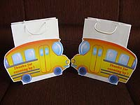 Vehicles birthday theme Bus gift bags