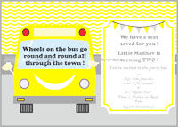 Wheels on a bus theme Rectangular Invitations