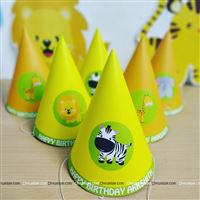 Cute jungle theme party hats for a first birthday party