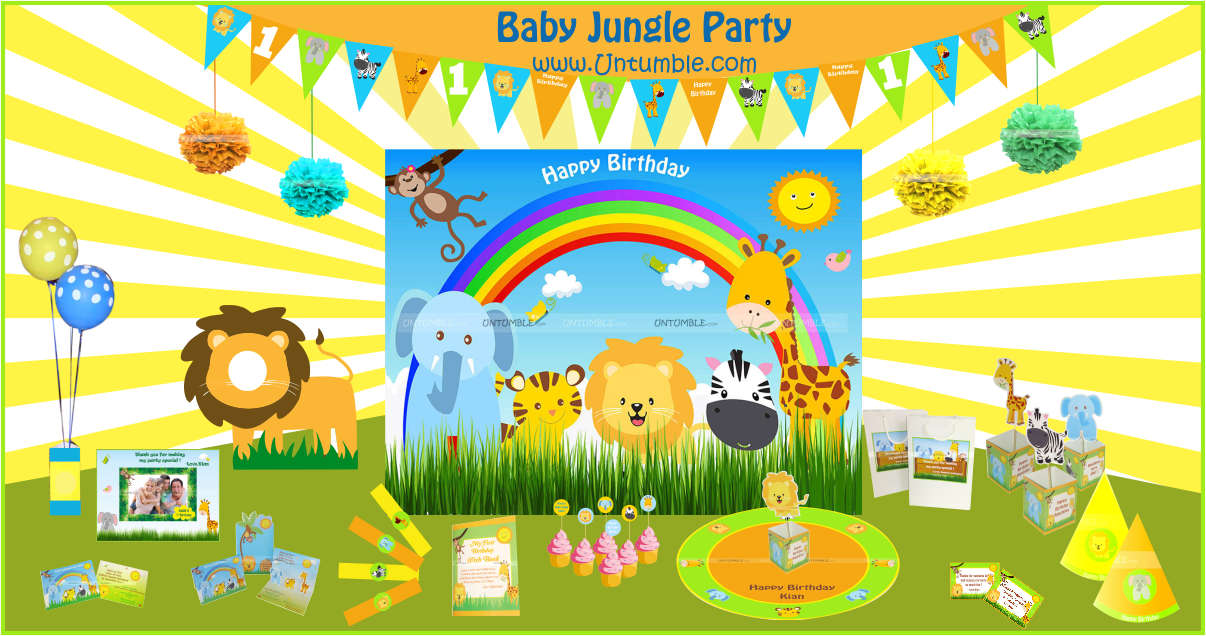 Baby animal jungle birthday decor