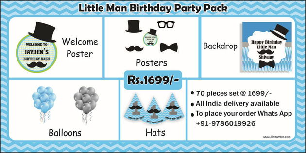 Little Man theme personalized party supplies
