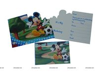 Mickey Minnie theme MICKEY DIE-CUT INVITATION & ENVELOPES