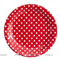 Christmas Decorations theme Birthday Party Plate - Red and white polka