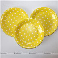 Birthday Party Plate - Yellow and white polka